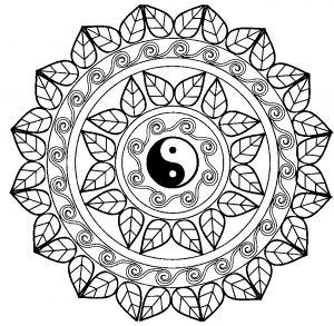 Yen & Yang Mandala with leaves