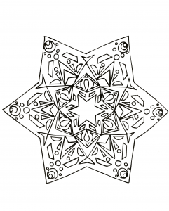 Star with original hand drawn patterns