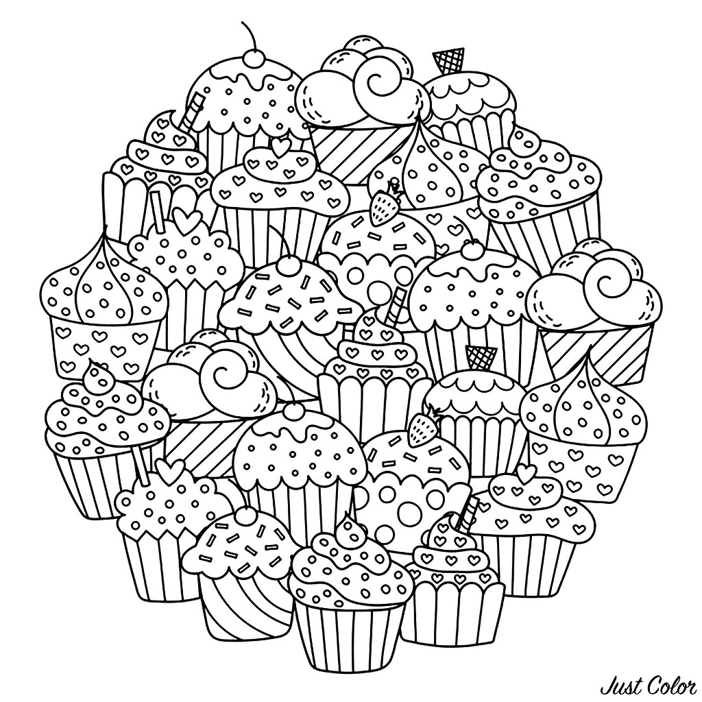 A magnificent Mandala full of little cupcakes, just waiting for your colors !